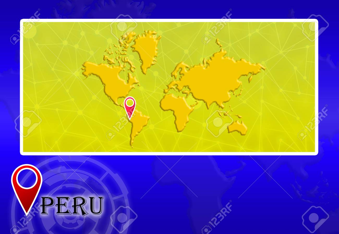 Peru In World Map With Pointer And Location Stock Photo, Picture And ...