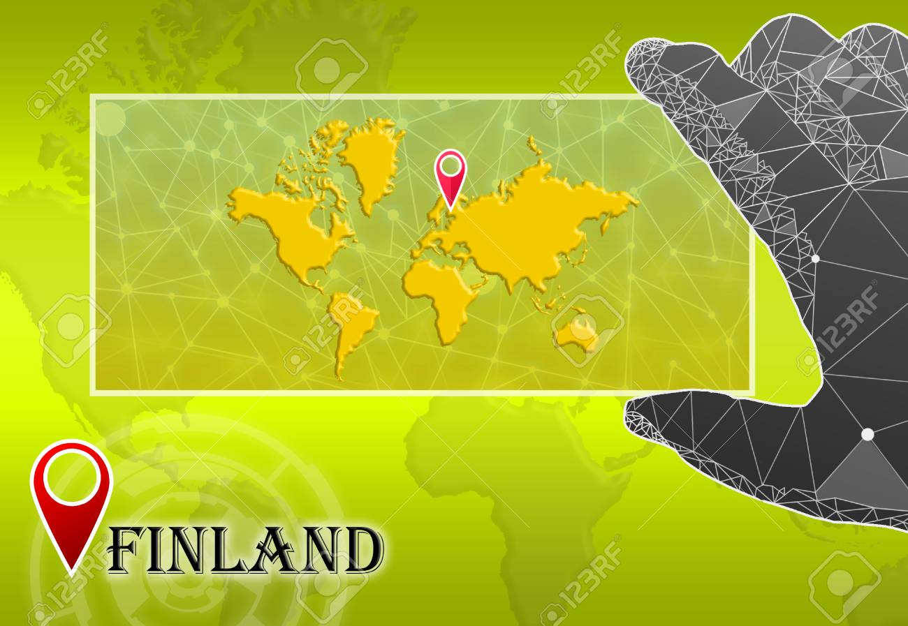 Finland In Plain World Map With Polygonal Hand And Pointer ...