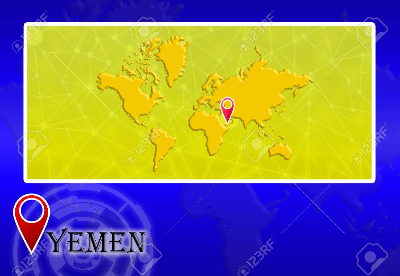 Yemen in World Map with pointer and location