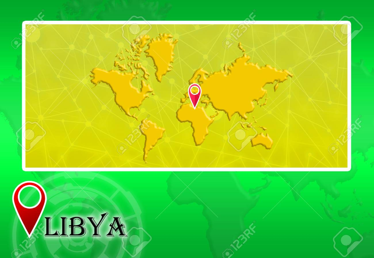 Libya In World Map With Pointer And Location Stock Photo, Picture ...