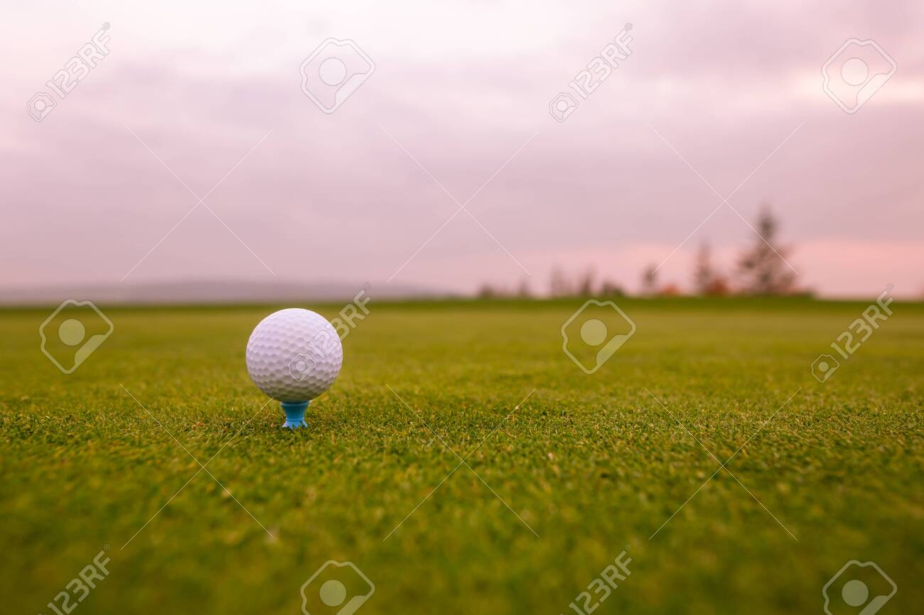 Close up of golf ball on the professional golf ground, ready for hit - 139588558