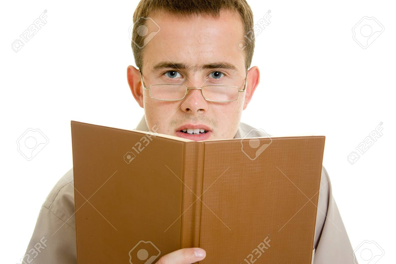 The man in glasses with a book. Stock Photo - 11182435