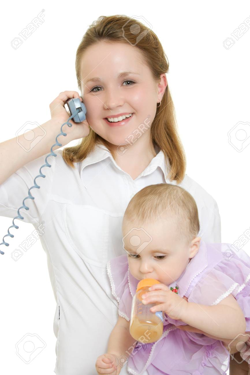 Businesswoman with a baby in her arms on the phone. Stock Photo - 11325345
