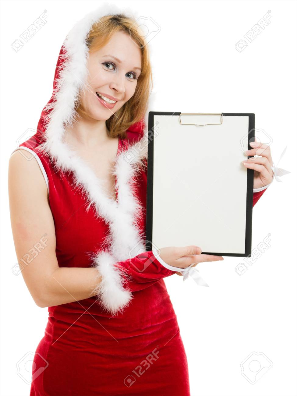 Happy Christmas woman holds a white billboard on a white background. Stock Photo - 11570184
