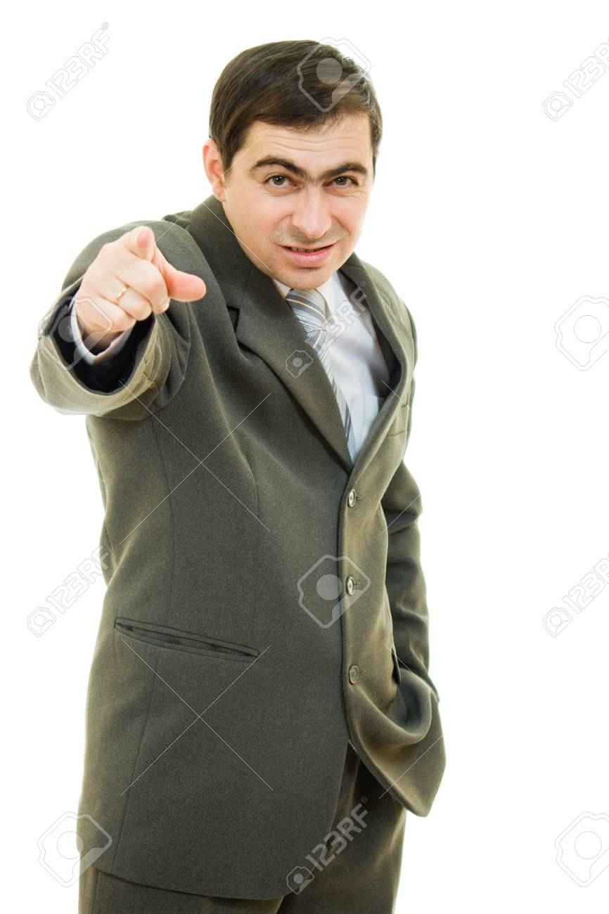 Businessman point a finger on a white background. Stock Photo - 12081648