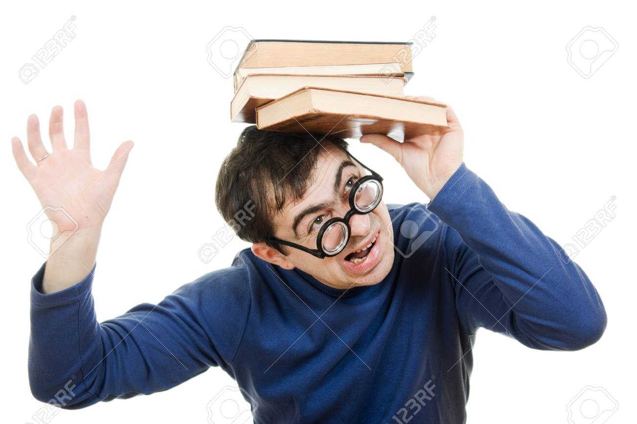 Student in glasses with a book on her head on white background Stock Photo - 12388089