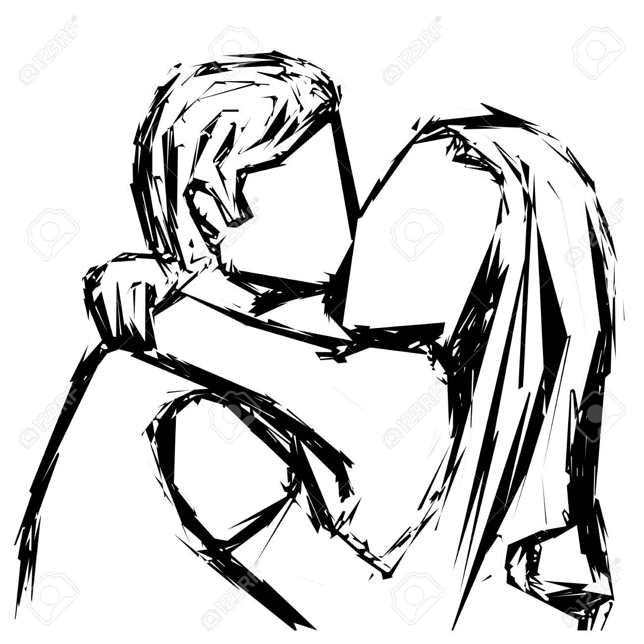 Sketch of a kissing couple in love with a gel pen vector illustration