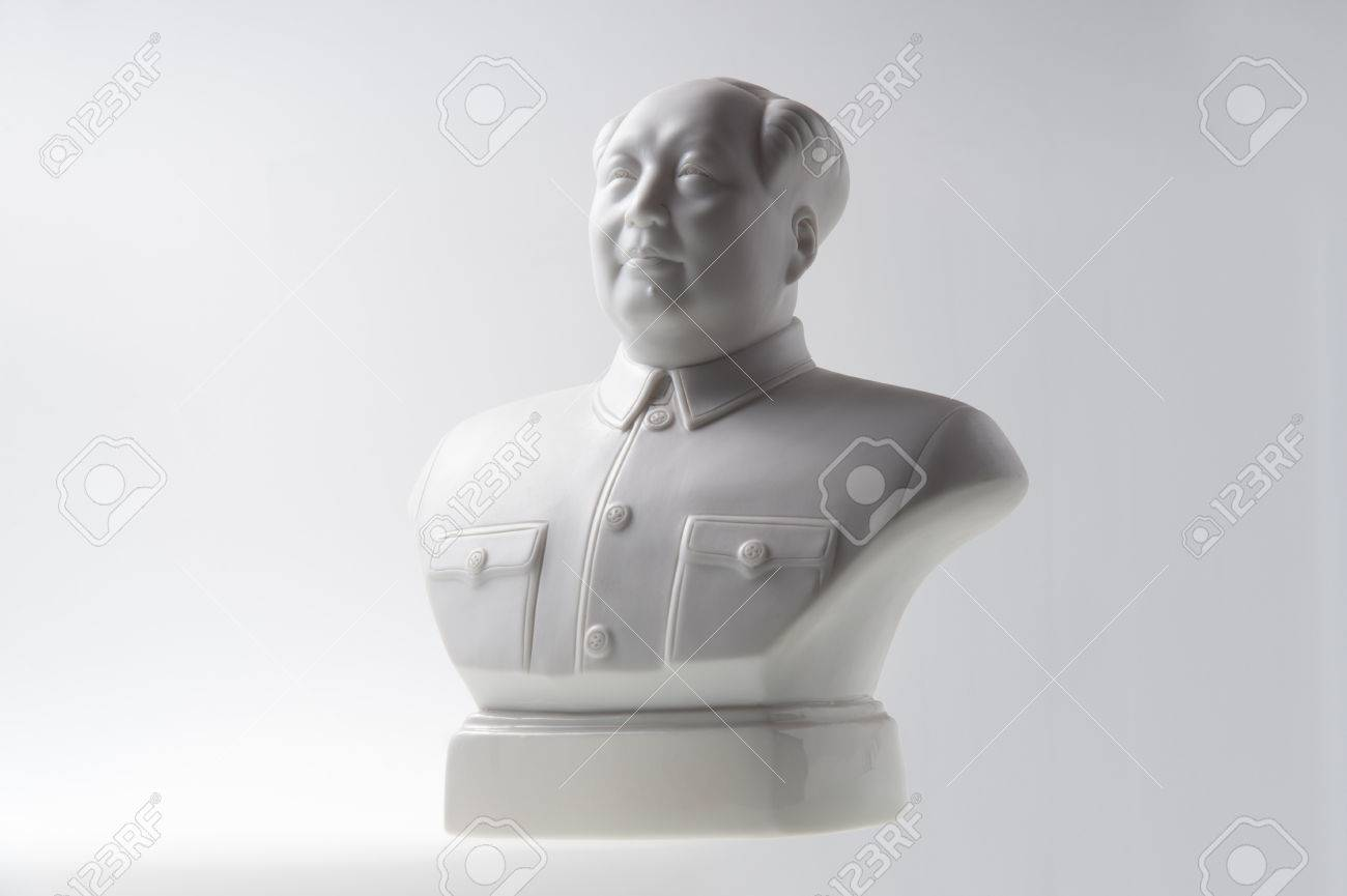 mao tse tung bust isolated on white background stock photo 32793366
