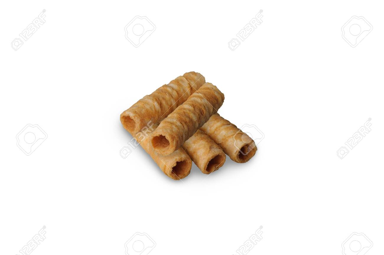 Thai crispy coconut roll isolated on white background. Thai roll wafer made from coconut, wheat flour, eggs, palm sugar and sesame - 138543590