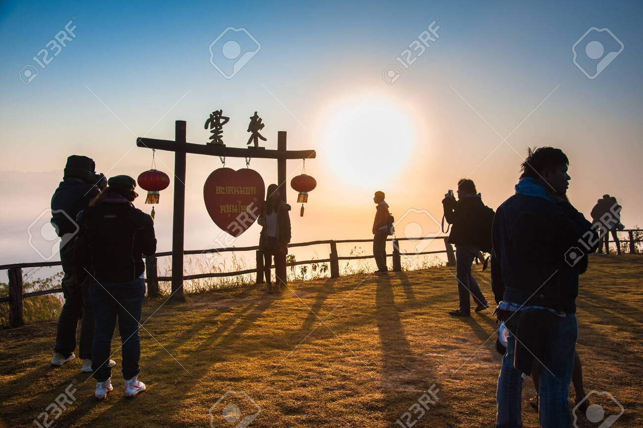 Mae Hong Son, Thailand - December 21, 2013: Tourists taking a photo and enjoying on Yun-lai viewpoint of Pai district, Mae Hong Son, Thailand - 138744714