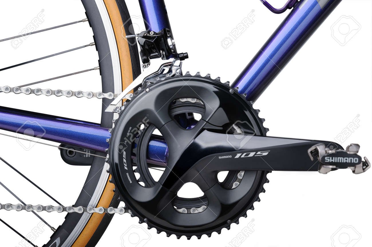 BANGKOK, THAILAND-March 3, 2021: Detail of bicycle components. TREK Emonda ALR 5 with Shimano components and Campagnolo Zonda C17 wheel isolated on white background - 167820063