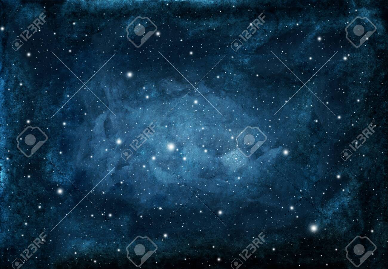 Watercolor night sky background with stars. cosmic texture with glowing stars. - 128228130