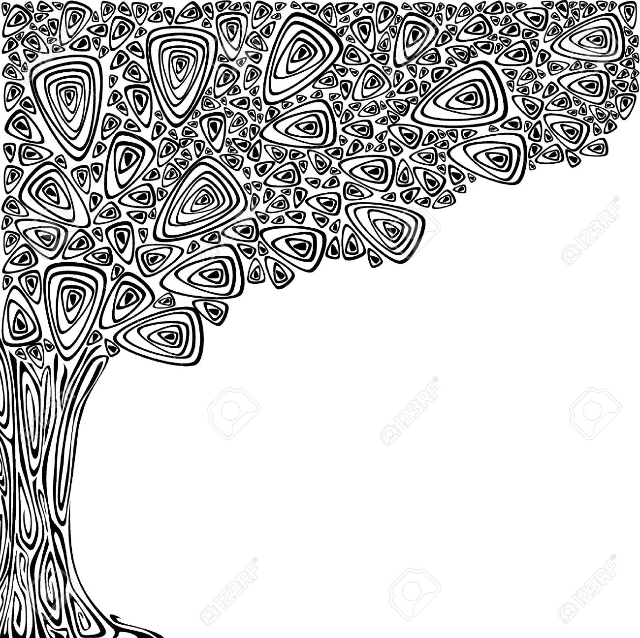 Background with an abstract tree. Black and white Stock Vector - 15312922