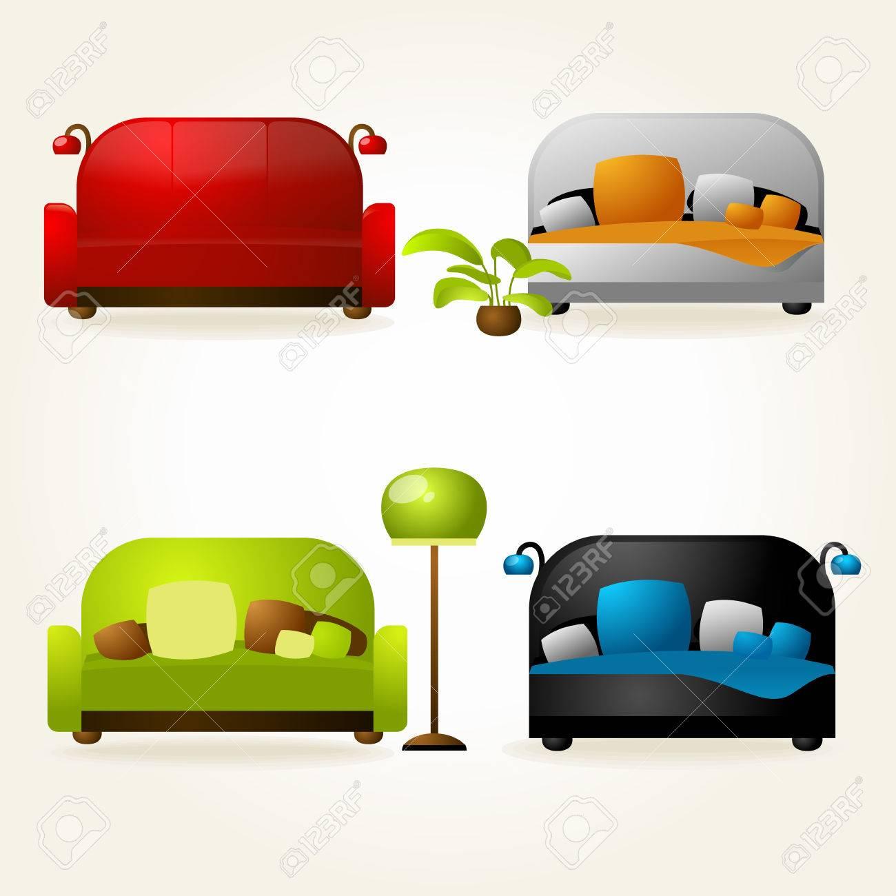 Hausmobel Und Buro Sofas Und Betten Vector Lizenzfrei Nutzbare