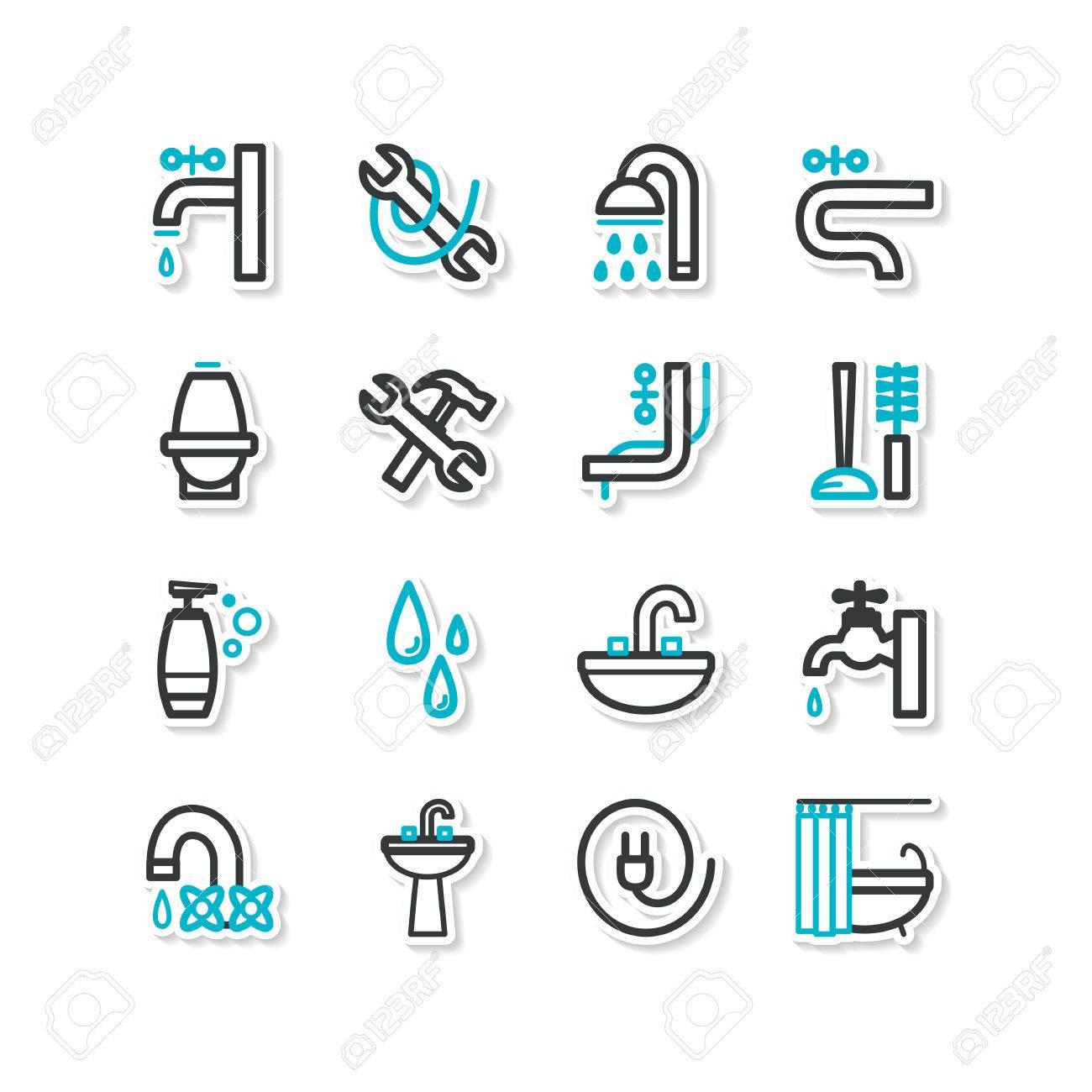 Reihe von icons badezimmereinrichtungen lizenzfreie bilder 32141335