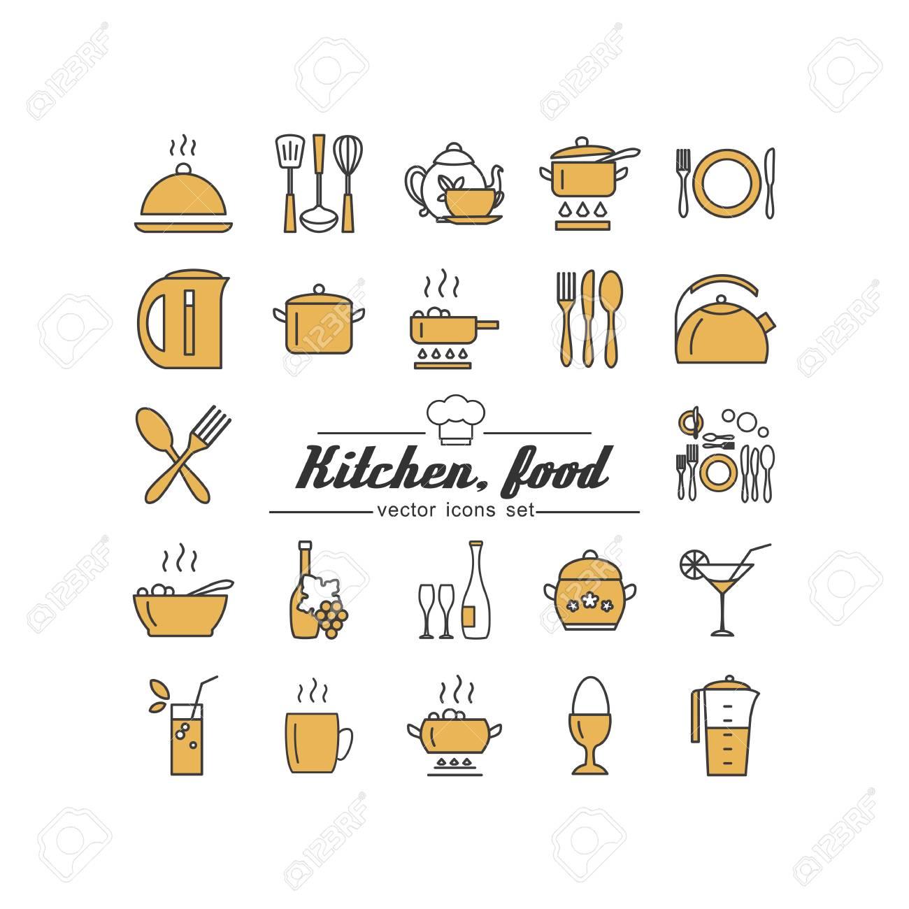 Küche. Essen. Set Von Abstrakten Bildern. Lizenzfrei Nutzbare ...
