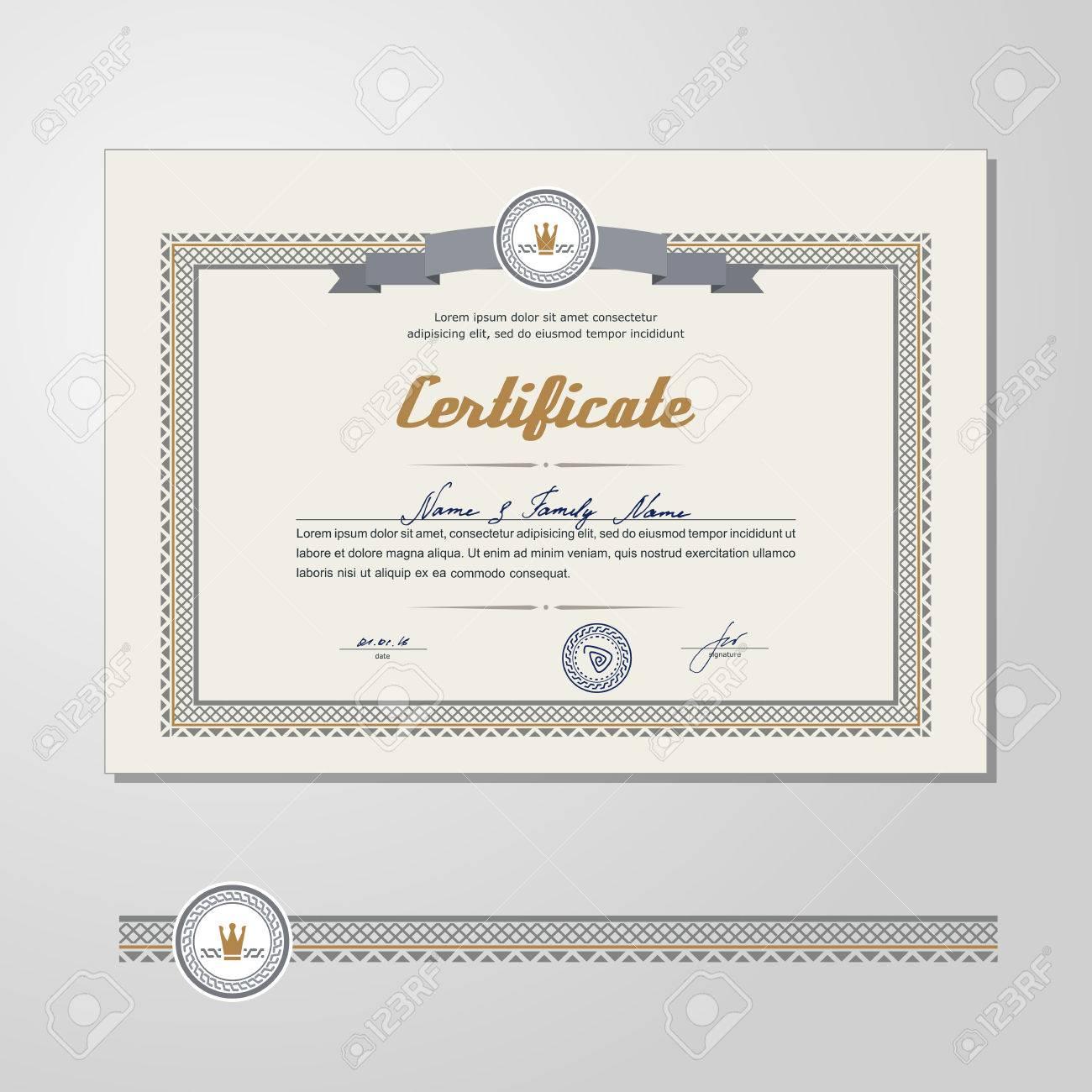 Certificado, Diploma, Plantilla De Diseño. Un Vector. Ilustraciones ...