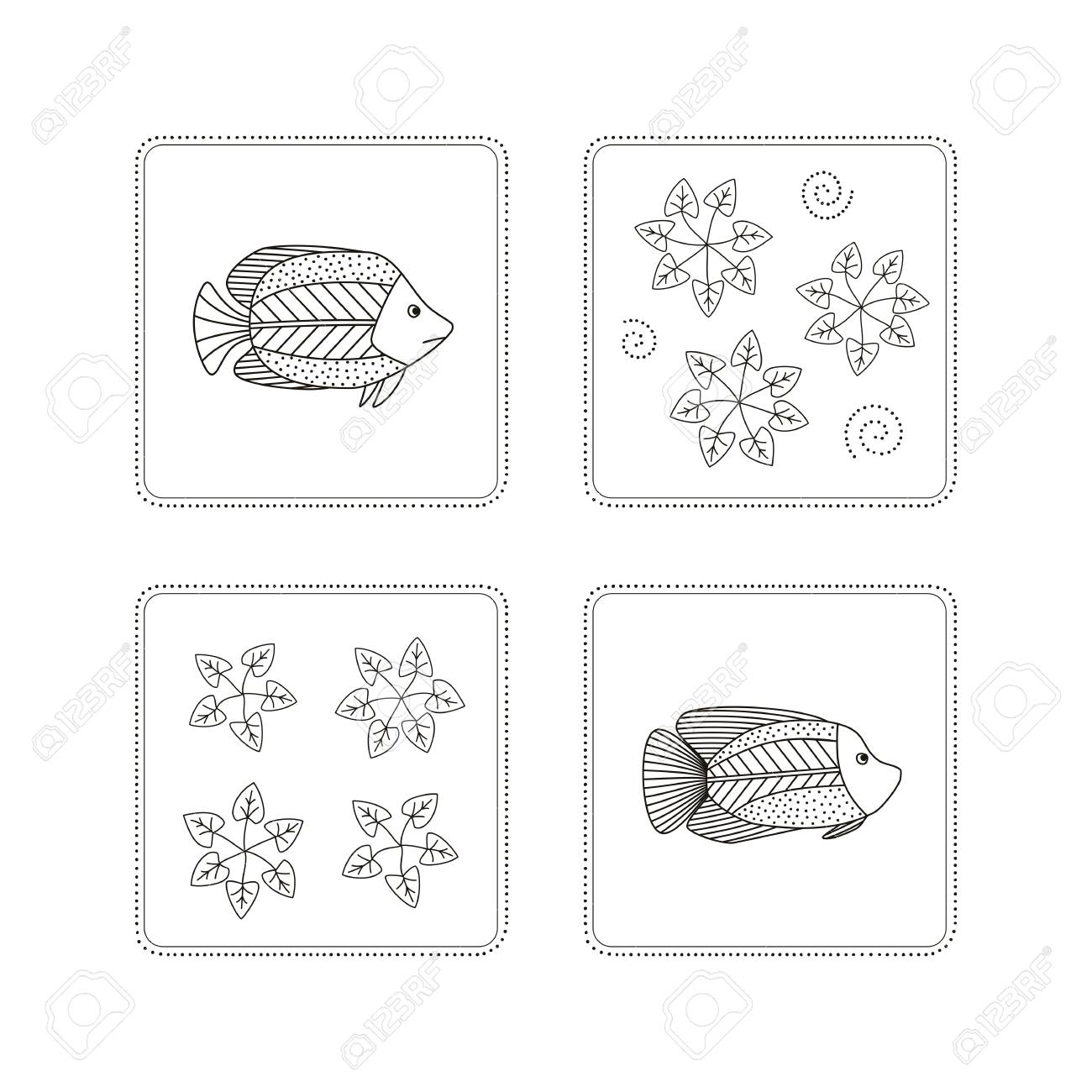 Disegno A Mano Pesci Alghe Clipart Royalty Free Vettori E