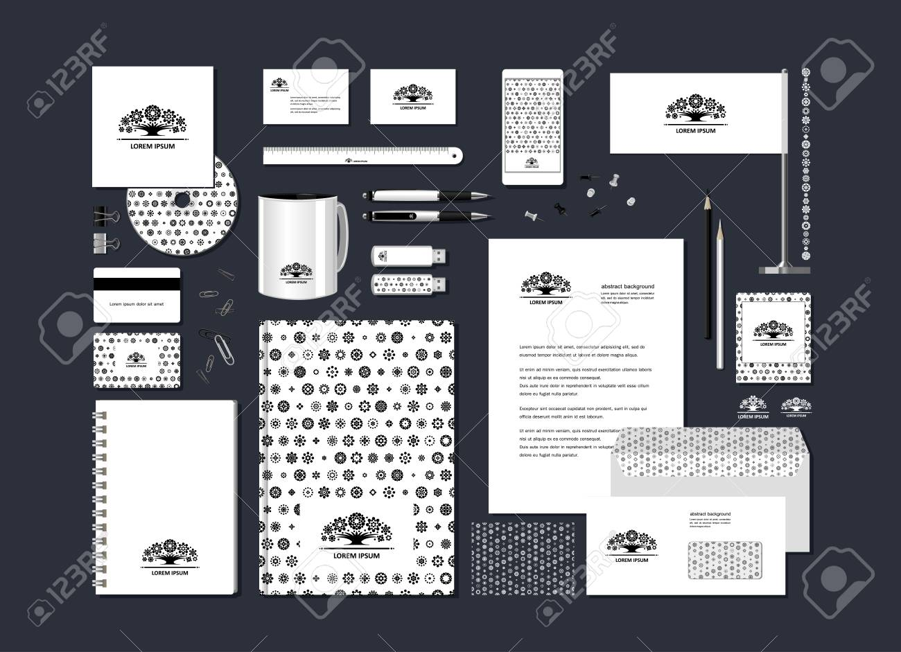 The Neutral Black And White Corporate Identity With The Stylized Royalty Free Cliparts Vectors And Stock Illustration Image 105521598