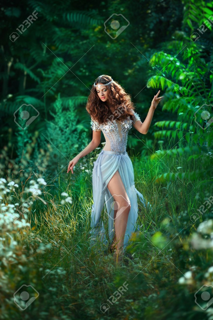 fantastic photoshoot luxurious fairy a long airy light dress