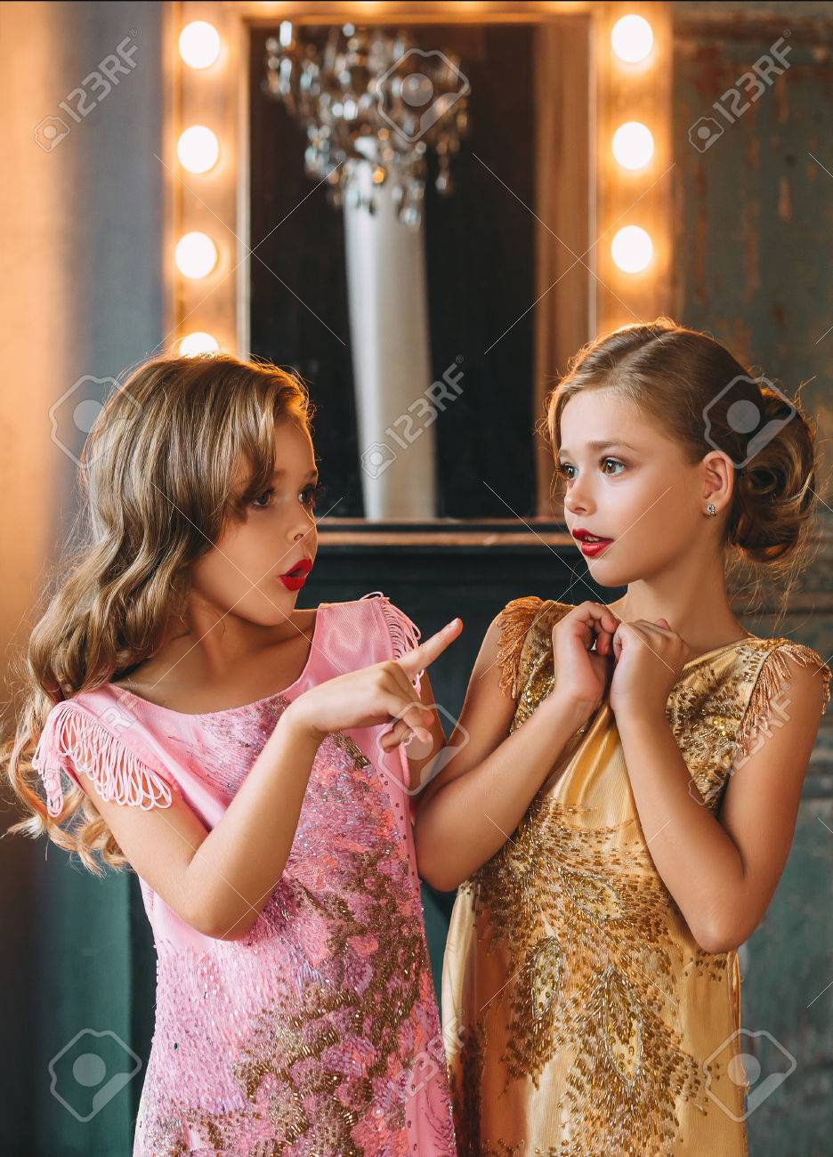 Stock Photo Two Babes In The Background Of The Mirror Animatedly Talking Beautiful Curls Luxury Vintage Dresses Fantastic Photo Session In A Beautiful