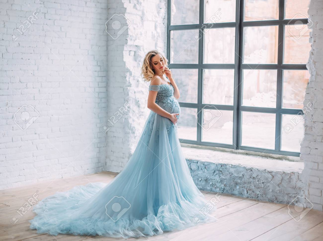Young, Pregnant Woman Posing In A Luxurious, Lush, Blue Dress ...