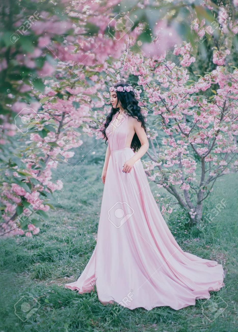 Incredible Gentle Elf In A Luxurious Gently Pink Dress Strolls
