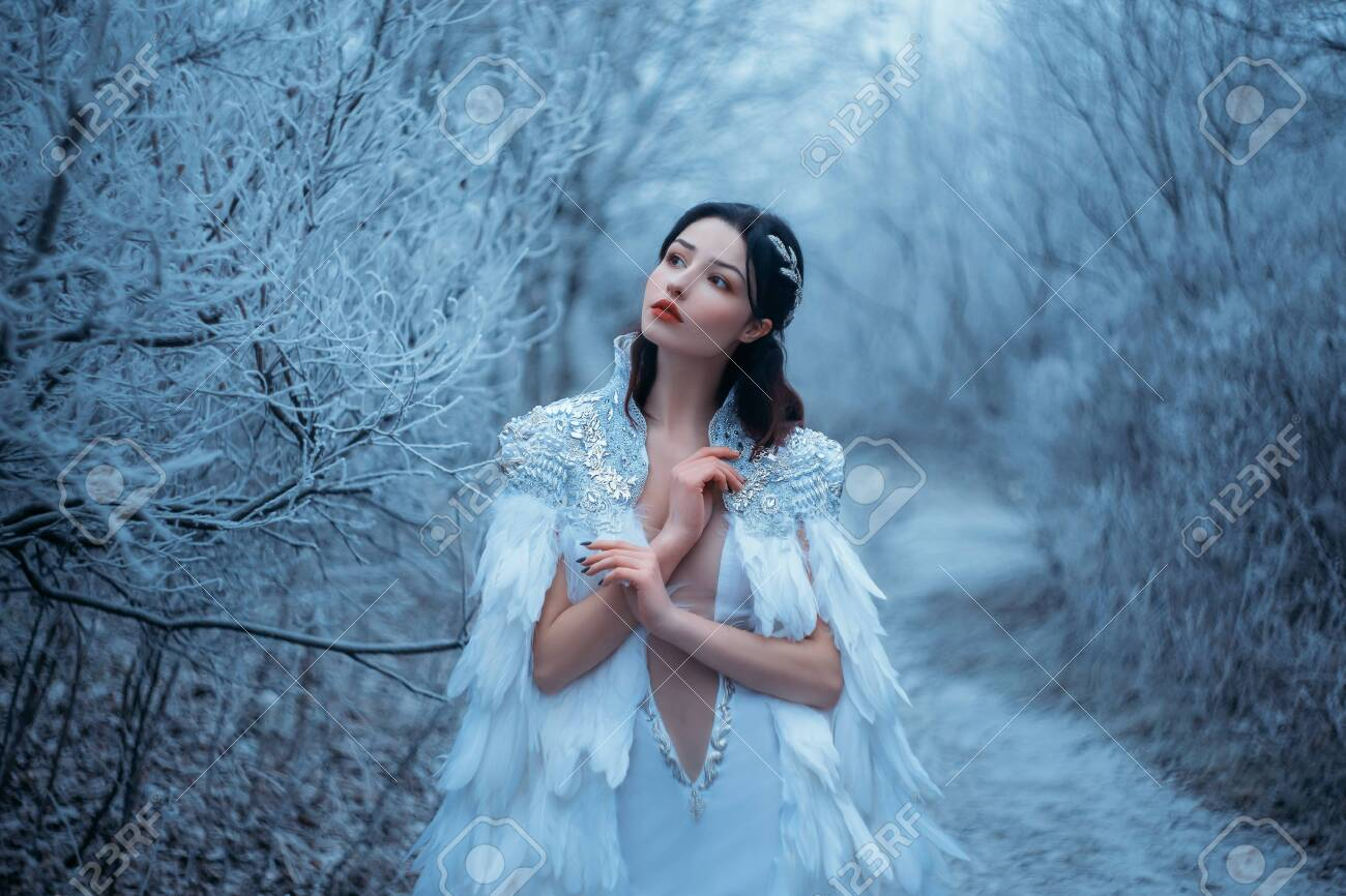 Young woman snow queen. Fantasy cape, white feathers. Creative clothes dress. Fashion model beautiful face. Elven cloak, princess in winter forest, trees in hoarfrost, snow. Silver Tiara Circlet - 150215693