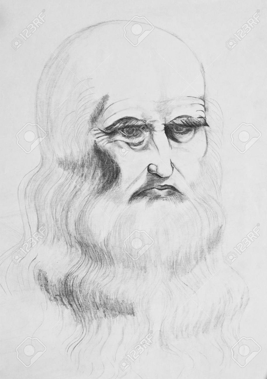 Portrait of a bearded old man pencil drawing on paper stock photo 115540854