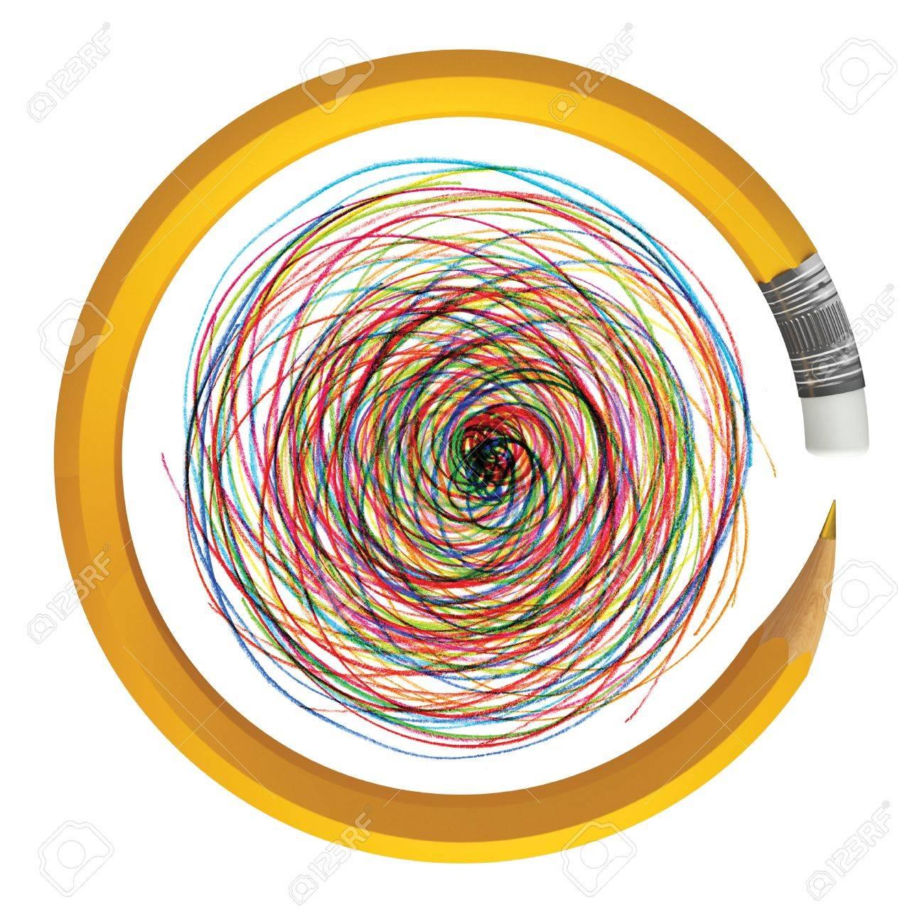 Pencil bent in a circle, 3d render Stock Photo - 11196343
