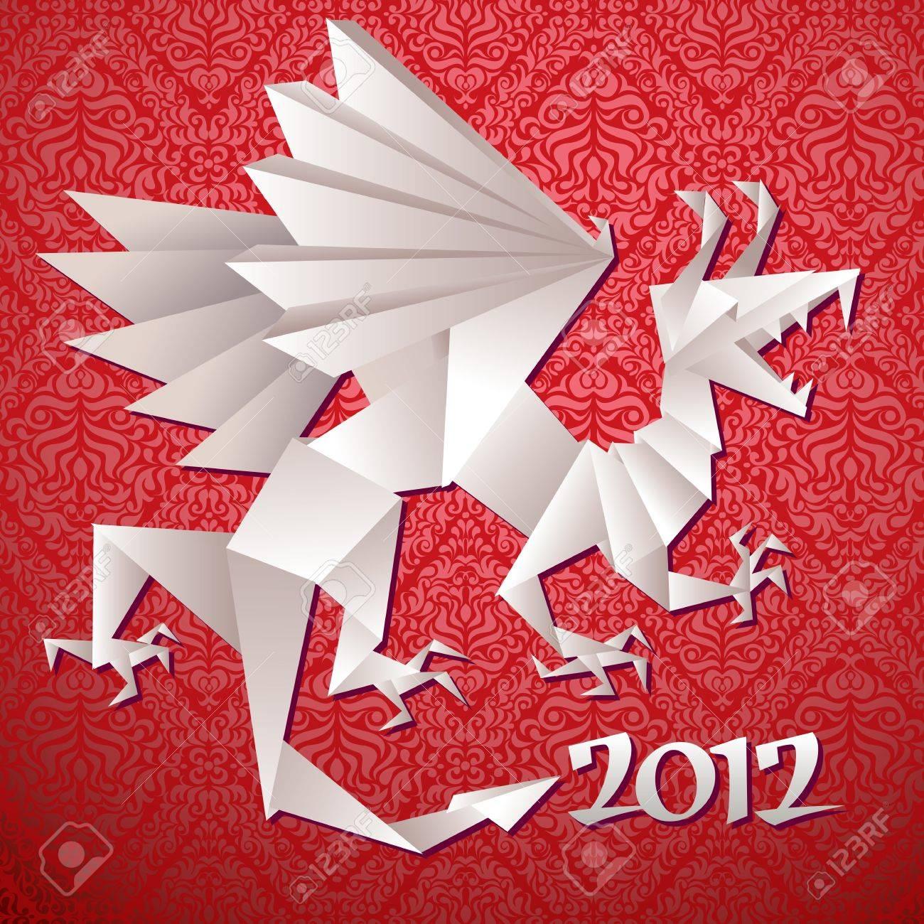 Year dragon, 2012, origami, vector illustration Stock Vector - 11562793