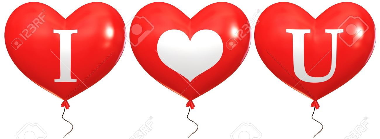 Balloons With The Words I Love You Balloon In The Shape Of Stock
