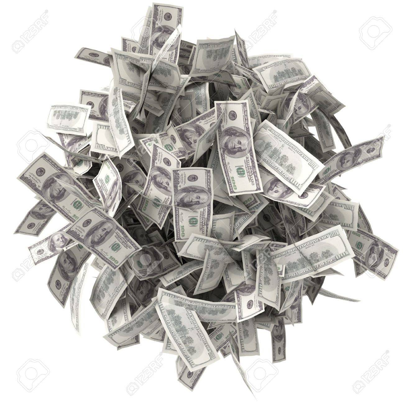 Crumpled bills  Pile of money  Ball of notes  One hundred dollars Stock Photo - 13923851