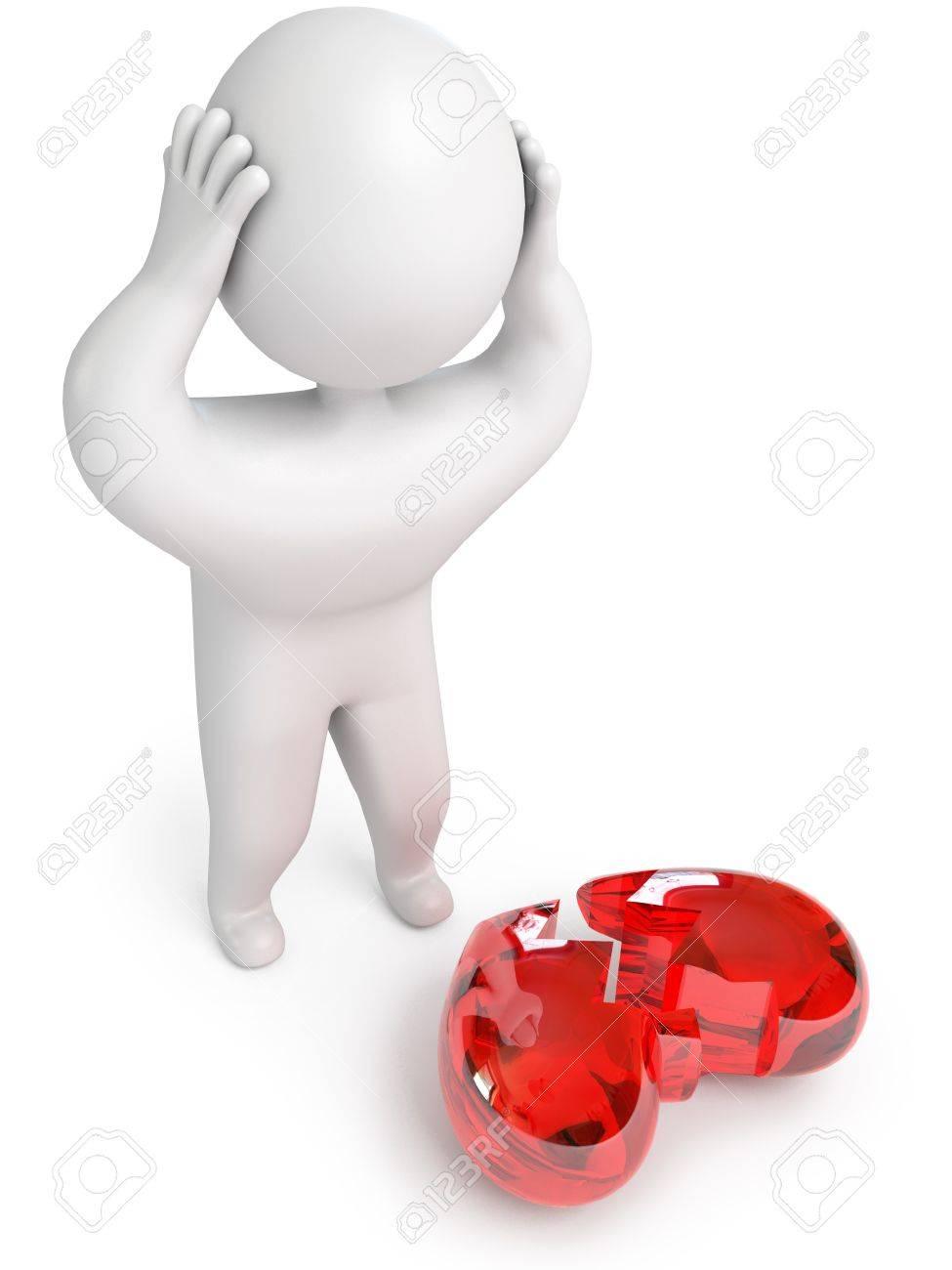 a broken heart, 3d render Stock Photo - 13923747