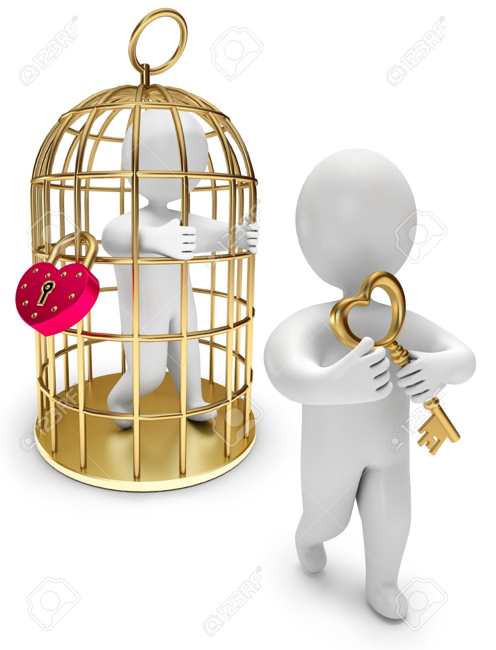 With golden key 3d rendering plan concept with golden key 3d rendering -  3d Render Man In A Golden Cage Person Holds The Golden Key On A White Background