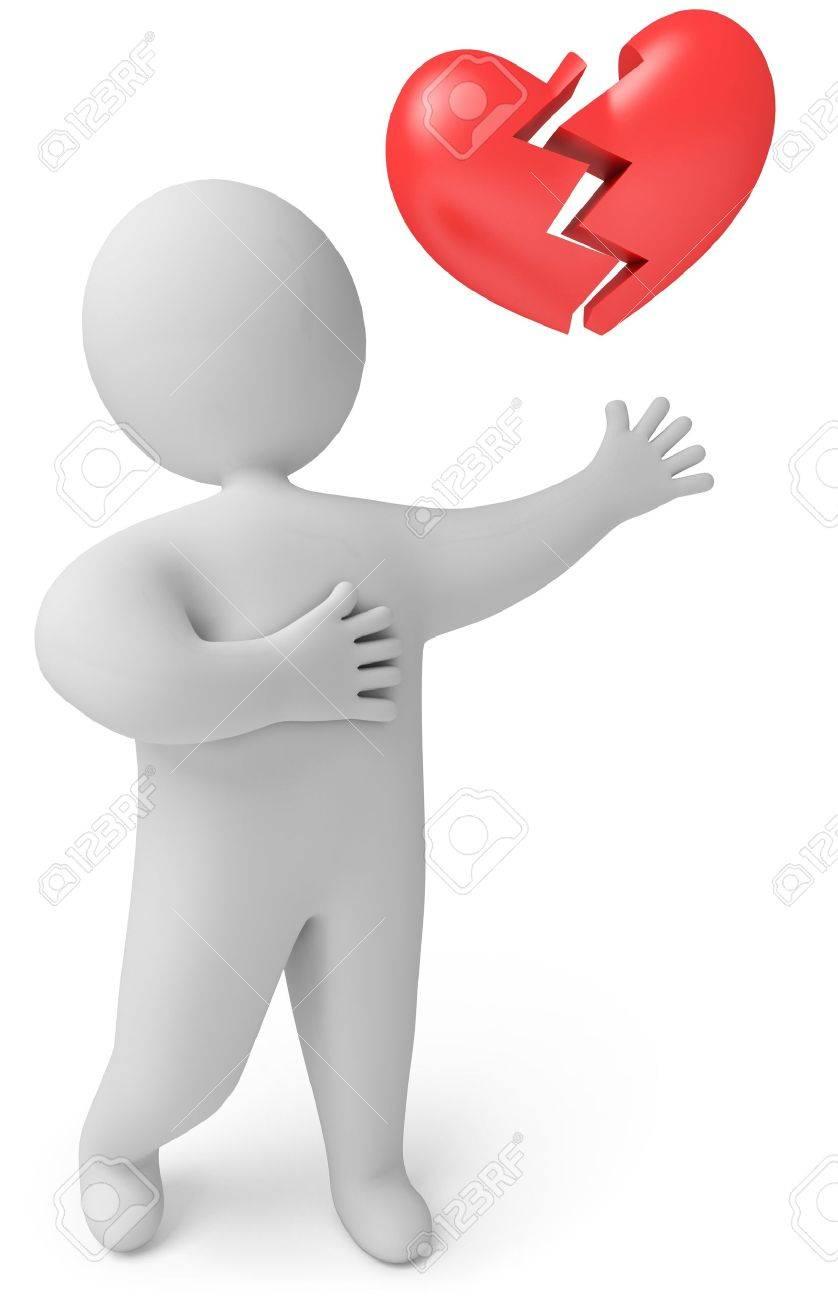 A man with a broken heart, 3d render Stock Photo - 13923734
