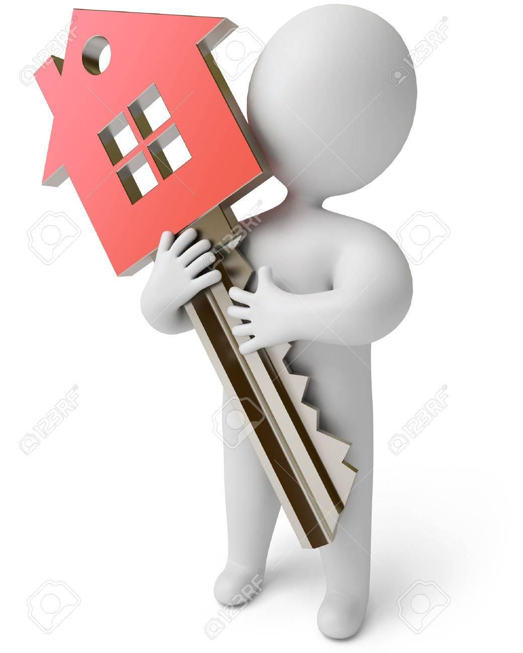 house key. house key on a white background 3d render stock photo 13923759