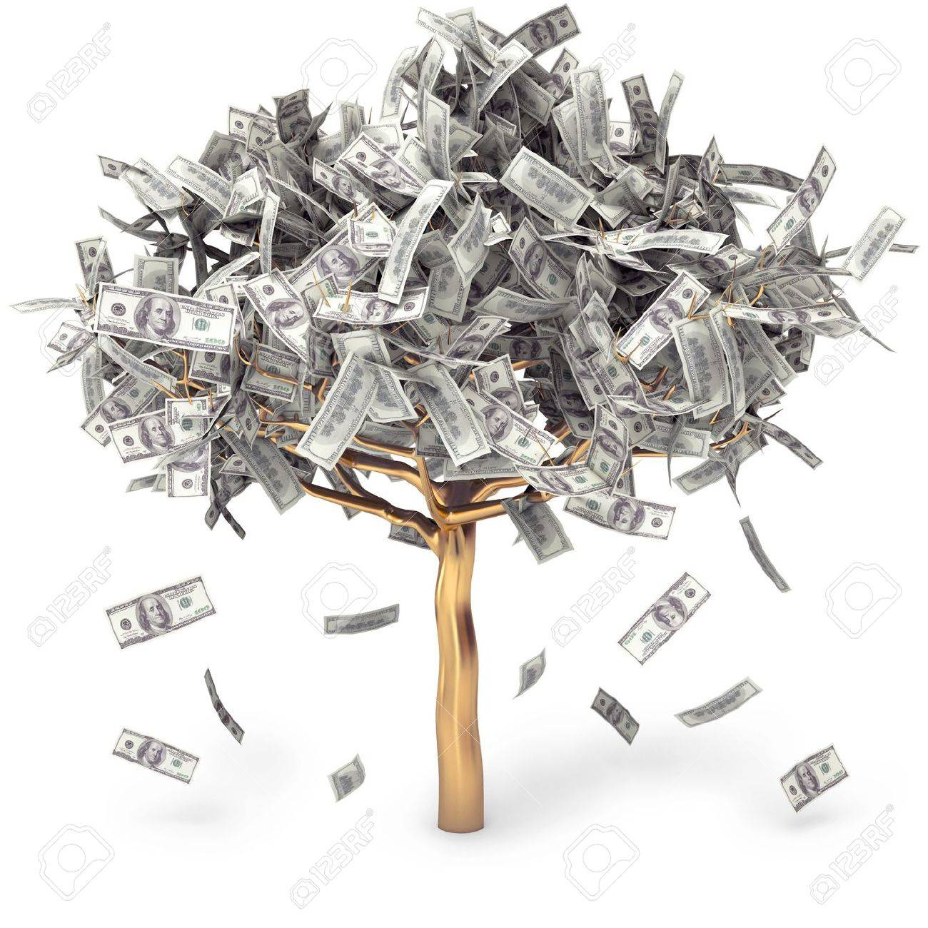 Dollar grows on a tree, money Tree, on a white background, 3d render Stock Photo - 13923835