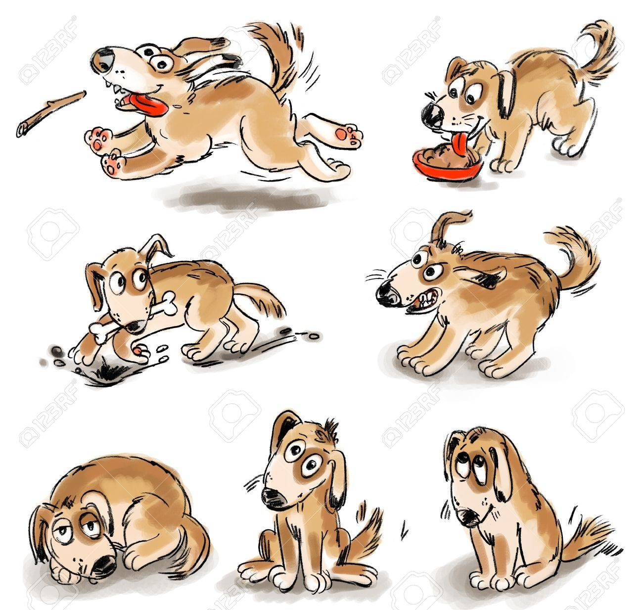 Set of puppy fun, Freehand drawing Stock Photo - 16650596
