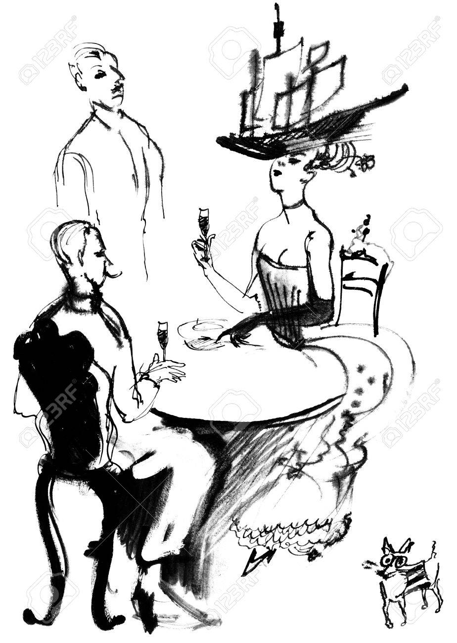 Lunch aristocrats, ink drawing Stock Photo - 16741438