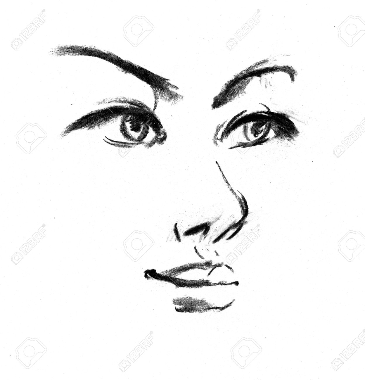 Female silhouette portrait of beautiful girl drawing in pencil stock photo 16741431
