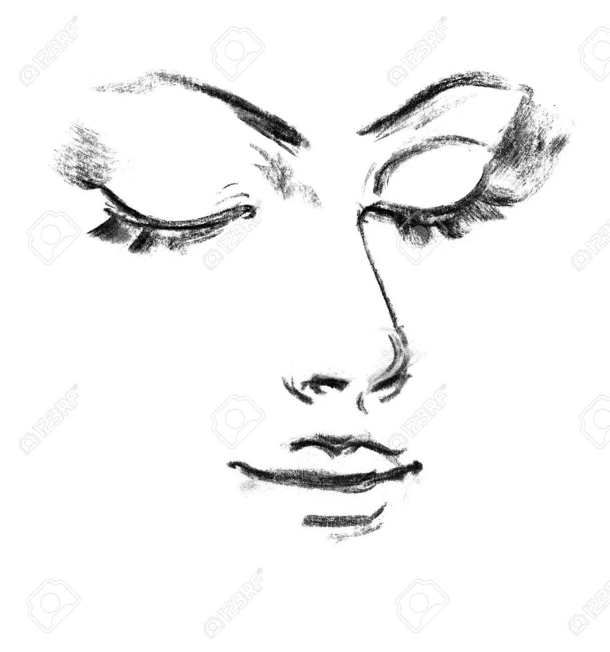 Portrait Der Schonen Madchen Zeichnen Mit Bleistift Lizenzfreie