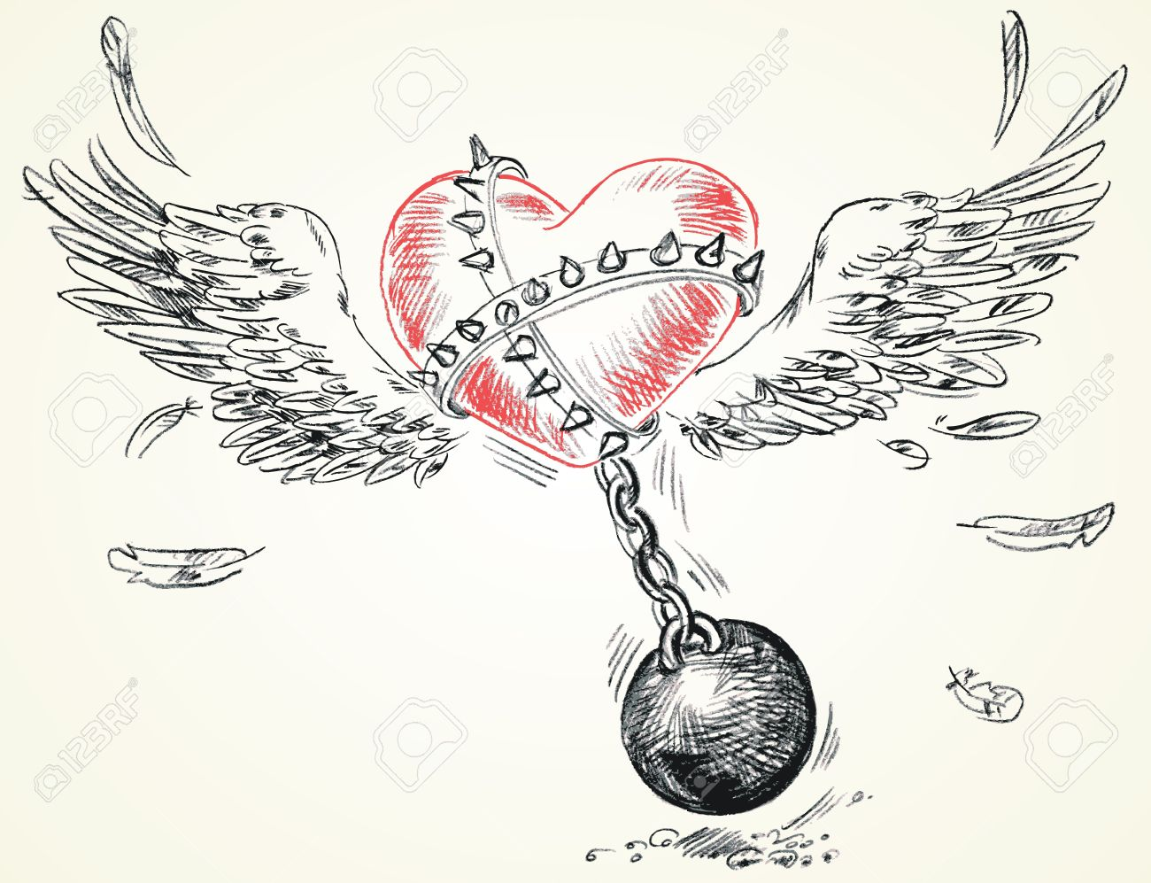 Winged heart fettered fetters, Hand-drawn, Vector illustration Stock Vector - 16741468