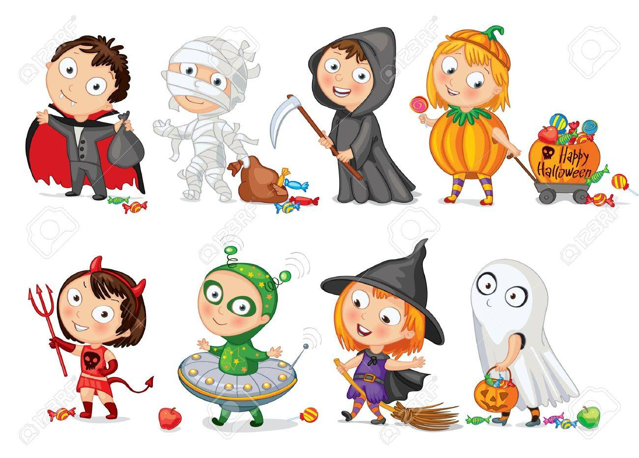 Happy Halloween, Funny little children in colorful costumes Stock Vector - 16907663
