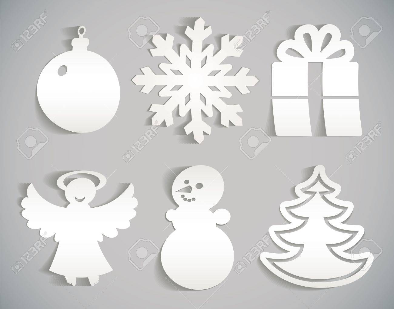 Christmas icon cut from paper illustration Stock Vector - 16907333