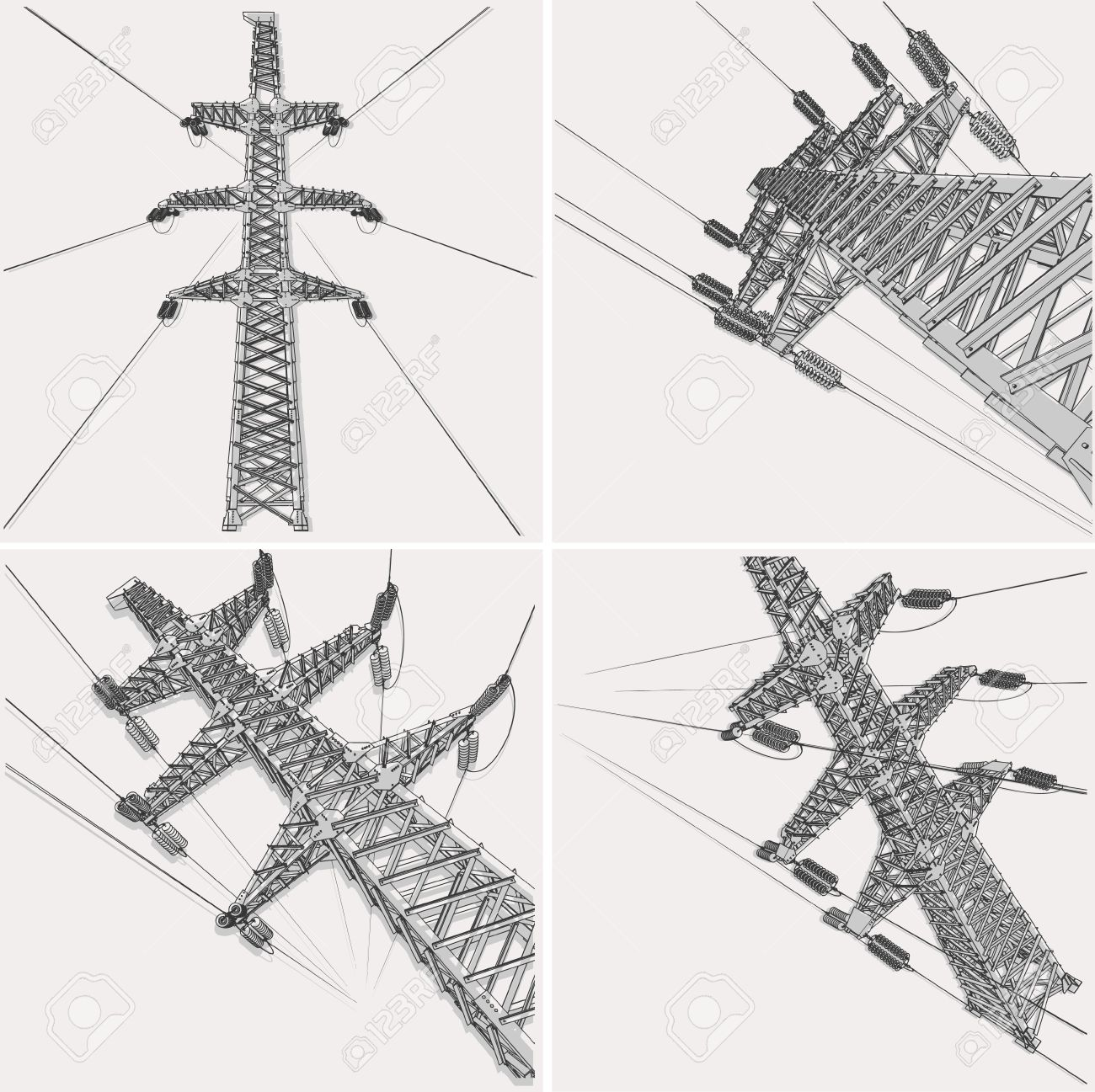 Power Transmission Line, vector illustration Stock Vector - 17049792
