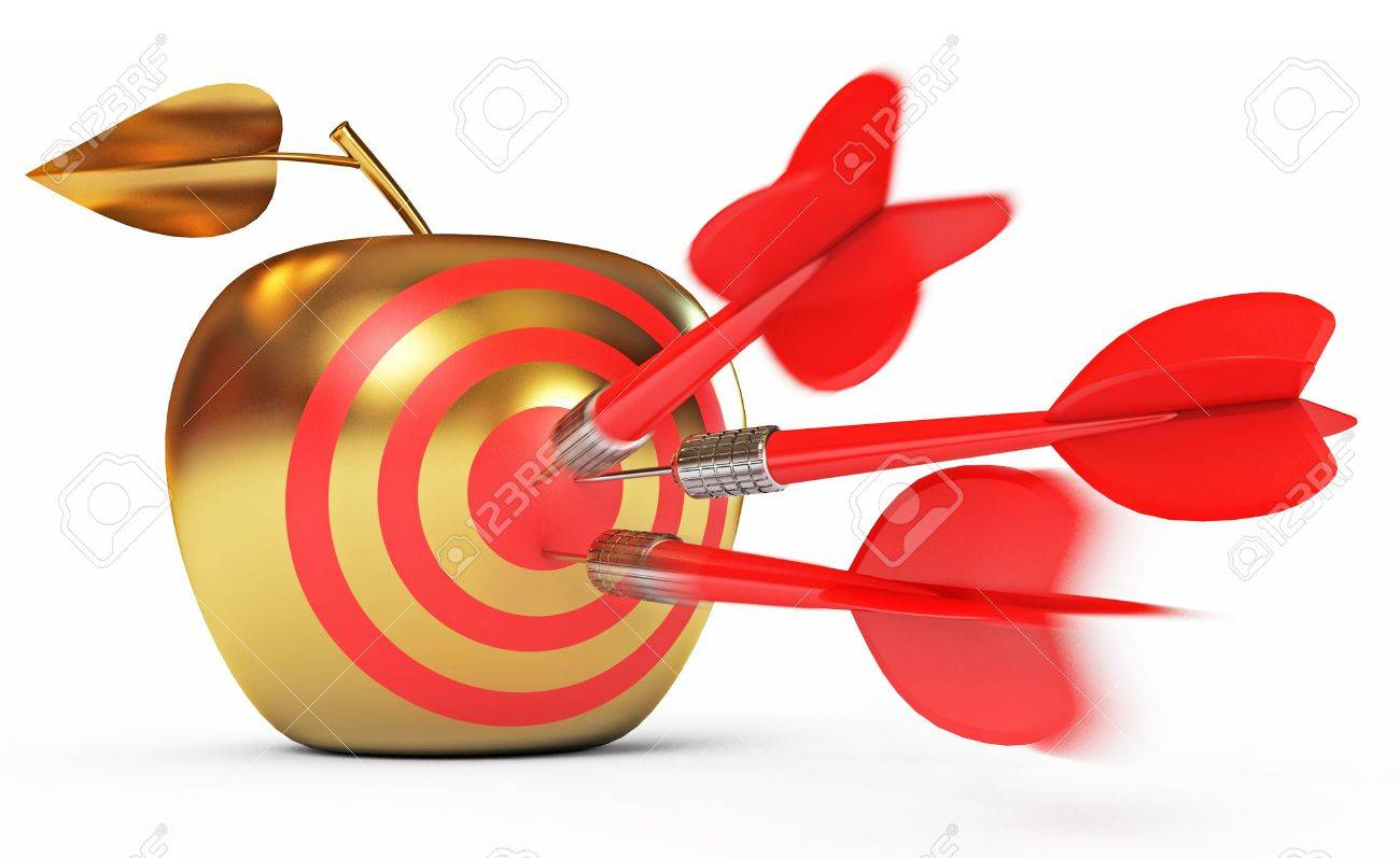 Hit The Bull S Eye Golden Apple Game Of Darts Stock Photo Picture