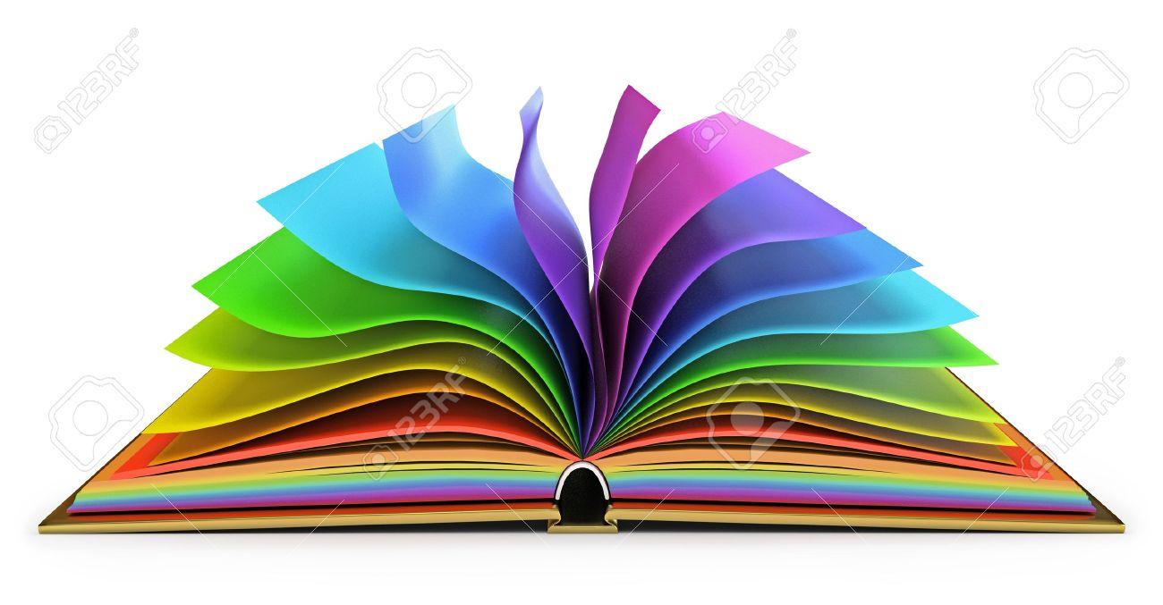 Libro Abierto Con Páginas Llenas De Color, Fondo Blanco Fotos ...