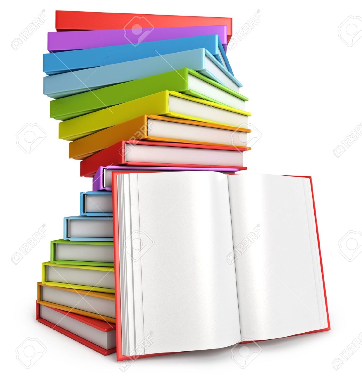 Pile of books, Open book, White background, 3d render Stock Photo - 17049621