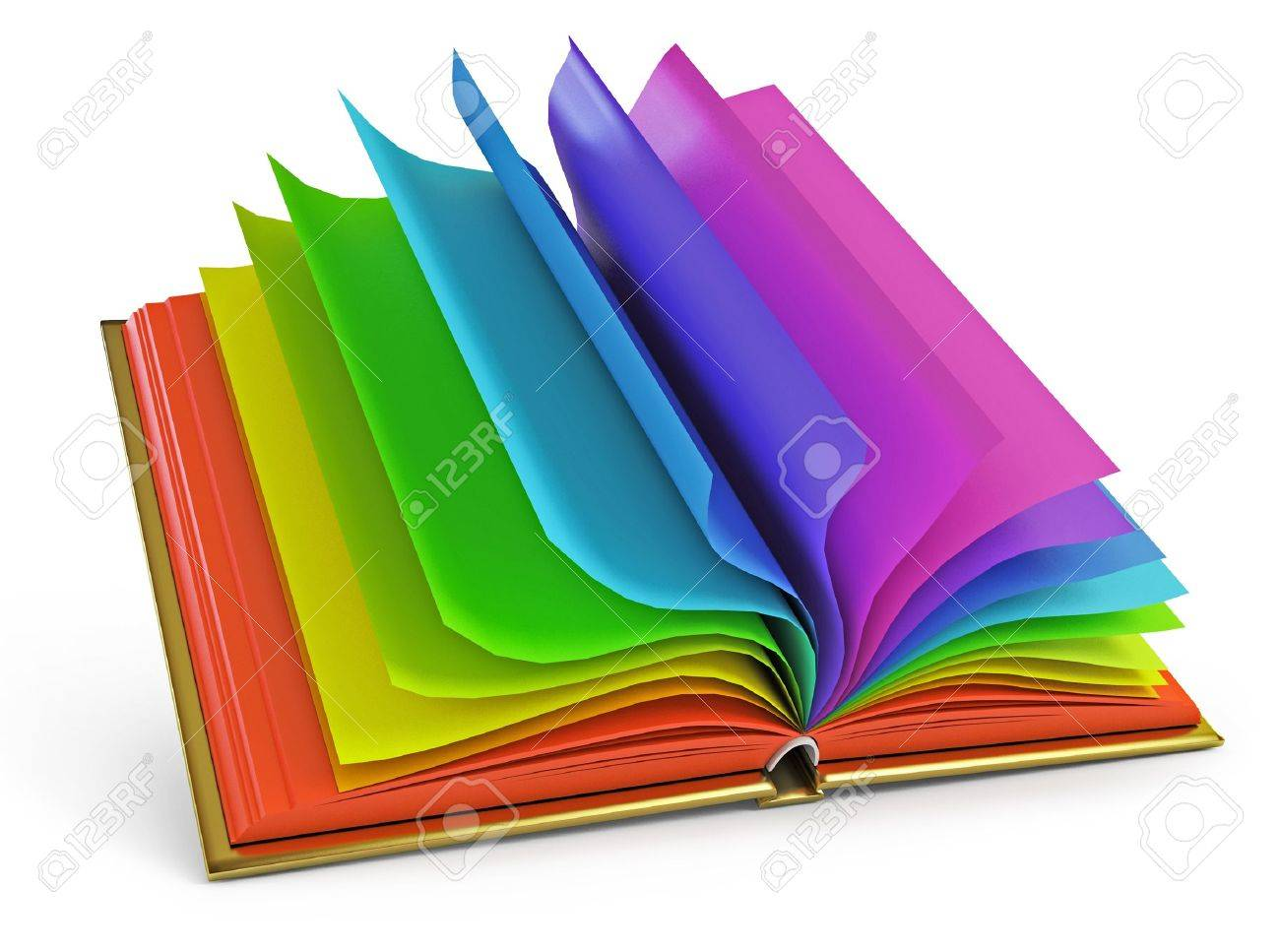Open Book With Colorful Pages Stock Photo Picture And Royalty Free